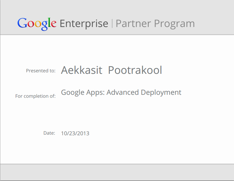 Google Apps Advanced Deployment Google Enterprise Partner Program